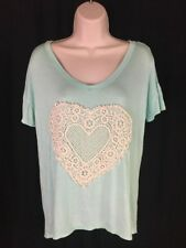 Sweet Claire Size M Embroidery Heart Aqua Blue Short Sleeve Tee Comfy Soft