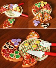 Wooden Pizza Play Food Set Wooden Toy Kids Pretend Kitchen Childrens Cooking  AC