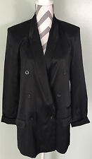 ASOS Womens Black Double Breasted Silk Like Viscose Blazer Coat Jacket Sz 8 EUC