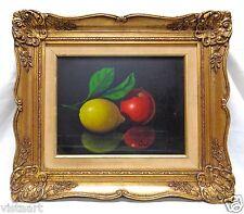 "Signed Lemon & Apple Still Life Art w/ Decorative Vintage Frame- 19x22"" Belgium"