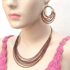 NEW BROWN BEADED HANDCRAFTED FASHION NECKLACE EARRINGS SET COSTUME JEWELRY