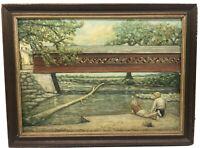 Antique Oil Painting BRYANT CHESTER Folk Bridge Beach Landscape VTG Americana
