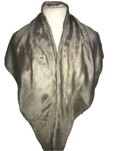 Leaves Design Square Scarf in Taupe : Hand Painted Silk by Designer Silk