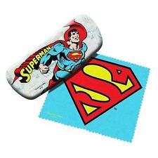DC Comics Licensed SUPERMAN Sun Eye Glasses HARD CASE w/ LOGO Cleaning Cloth