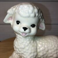 "WHITE LAMB SHEEP 6.5"" Tall x 6.5"" Long Ceramic Figurine Anthropomorphic"