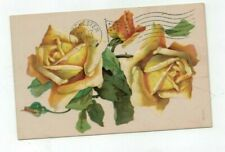Antique 1908 Post Card Embossed Yellow Roses
