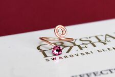 Swirl Rose Gold Plated Toe/Knuckle Ring with Rose Swarovski Crystals Elements