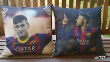 Cotton Linen Cushion Cover Pillow Case Soccer star Brazil Barcelona Neymar D3
