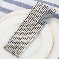 3 Pair Reusable Chopsticks Metal Korean Chinese Stainless Steel Chop Sticks Hot!