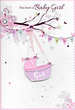 ISABELS GARDEN,YOU HAVE A BABY GIRL CARD ,3D HANDMADE,PINK.TOP QUALITY (N2)