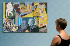 """57"""" - KISS AROUND THE ART WORLD ---- original painting oil on canvas by ANNA !!!"""