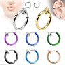 2x Fake Clip On Spring Nose Hoop Ring Ear Septum Lip Eyebrow Earring No Piercing