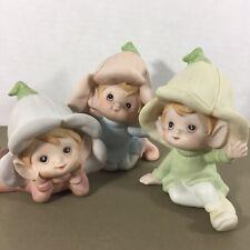 Homco vintage set of 3 pixie elf porcelain figurines 5615 pastel w flower hats