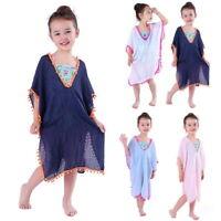 Girls Kids Summer Swimwear Bikini Cover Up Coat Kimono Beach Dress Blouse UK
