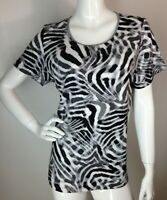 Women's New Plus Size 1X Cotton Black Gray Kenyan Animal Print Blouse Top NWT