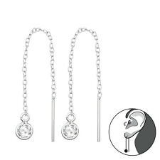 925 Sterling Silver Crystal Cubic Zirconia Circle Threader Earrings