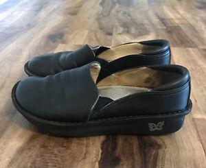 Alegria Black Leather Slip On Clogs Sz 38