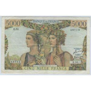 FRANCE 5000 FRANCS TERRE ET MER 5-4-1951 E.50 TTB