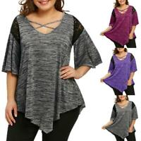 Vogue Women's Plus Size Flare Sleeve Asymmetrical Tunic Lace T-shirt Blouse Tops