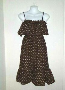Vtg 70s Brown Floral Dress Ruffles Elastic Smocked Bodice Cottagecore Sz L