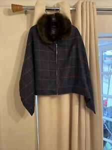 Limited Edition Rydale British Made Cape Tweed Check Fur Collar Winter Cloak