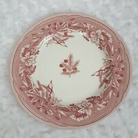 Spode Fulham Salad Plate Williams Sonoma Red White Floral  China Ceramic England