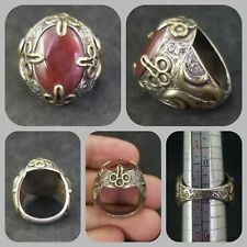 Rare and huge solid silver ring with old carnelian stone excellent ring