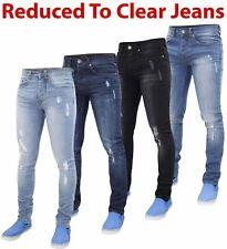 Mens Skinny Ripped Jeans Super Stretch Denim Distressed Blue Black Slim Fit Pant