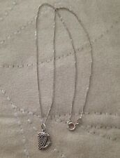 RARELY SEEN - VINTAGE STERLING SILVER IRISH HARP NECKLACE