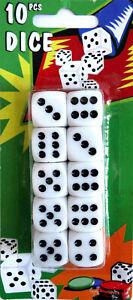 10 Spielwürfel weiß 15mm Würfel set Knobel Cube Augen Spiel Casino OVP