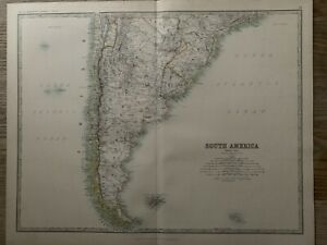 1893 South America (South Part) Large Antique Map by A.K. Johnston