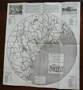 Portland Maine 1929 Chamber of Commerce illustrated travel brochure tourist map