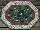 Handcrafted Quilted Table Runner Topper - CHRISTMAS CHICKADEE PINE CONE HOLLY