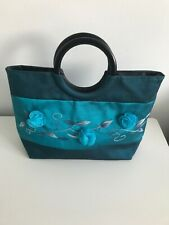 Beautiful Pure Silk Turquoise Blue Clutch Handle Handbag by Aspire