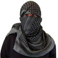 MILITARY - ARMY ISSUE O/D SHEMAGH SCARF ARAB/SAS/RETRO GREY & BLACK 100 COTTON
