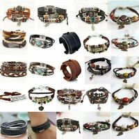 Fashion Men Womens Handmade Leather Bracelet Braided Bangle Wristband Wrap Gift