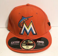 Miami Marlins Hat 7 3/8 Orange Florida New Era Fitted Cap Authentic 59/Fifty