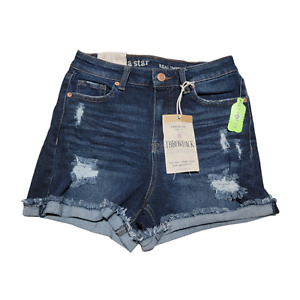 Vanilla Star SUPER High Rise CHEEKY Jean BOOTY Shorts Size 3 Waist 26 Distressed