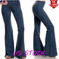 Women's Denim Jeans High Waist Flared Wide Leg Trousers Ladies Bell Bottom Pants