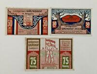 GRUNDHOF NOTGELD 2x 50, 75 PFENNIG 1921 NOTGELDSCHEINE (11681)