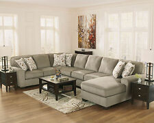 Large Gray Fabric Sectional Sofa Couch Chaise - MESA 4pcs Modern Living Room Set