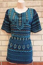 PER UNA NAVY BLUE GREEN EMBROIDERED BEADED BOHEMIAN TRIBAL BLOUSE TOP TUNIC 20