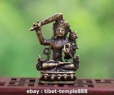 4 Tibet Pure Bronze manjuist Manjusri Guanyin Bodhisattva Buddha Amulet Statue