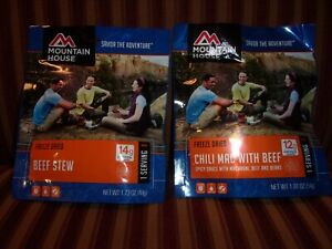 Mountain House Beef Stew and Chili Mac 2 Single Serving Packages Best by Oct 27