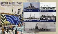 Marshall Islands 2018 MNH WWI WW1 Razzle Dazzle Ships 5v M/S II Military Stamps