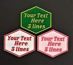 Personalised Embroidered Name Patch Badge Hexagon Three lines Box Iron on sew on