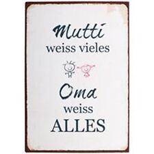 "Ib Laursen *Metallschild* ""Mutti weiss vieles, Oma weiss..."" Vintage Metall Neu"