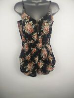 WOMENS LUCCA COUTURE BLACK FLORAL SLEEVELESS JUMPSUIT PLAYSUIT SIZE XS