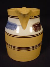 VERY RARE 1800s BROWN & BLUE MOCHA BANDED PITCHER MOCHAWARE YELLOW WARE MINT