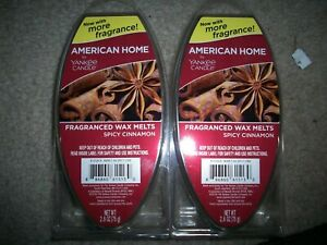 SPICY CINNAMON American Home Wax Melts YANKEE CANDLE 2 Packs 12 CUBES NEW LOT
